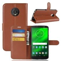 Litchee Booktype Hoesje Motorola Moto G6 Plus - Bruin