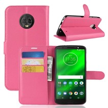 Litchee Booktype Hoesje Motorola Moto G6 Plus - Roze