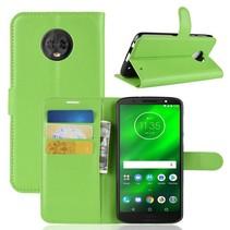 Litchee Booktype Hoesje Motorola Moto G6 Plus - Groen