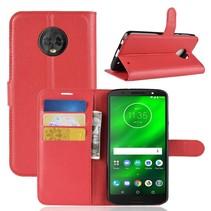 Litchee Booktype Hoesje Motorola Moto G6 Plus - Rood