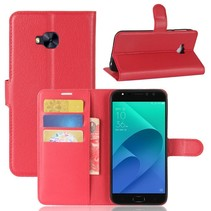 Litchee Booktype Hoesje Asus Zenfone 4 Selfie Pro - Rood