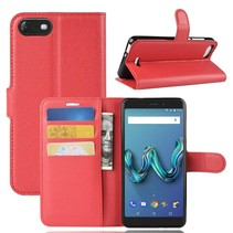 Litchee Booktype Hoesje Wiko Tommy 3 - Rood
