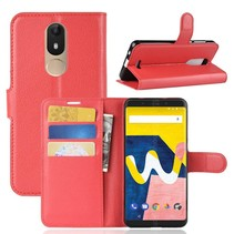 Litchee Booktype Hoesje Wiko View Lite - Rood