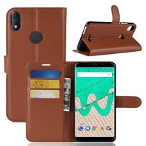Litchee Booktype Hoesje Wiko View Max - Bruin