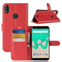 Litchee Booktype Hoesje Wiko View Max - Rood