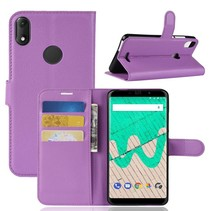Litchee Booktype Hoesje Wiko View Max - Paars
