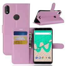 Litchee Booktype Hoesje Wiko View Max - Roze