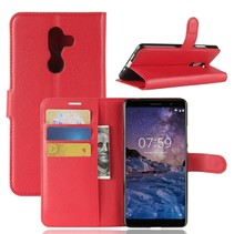 Litchee Booktype Hoesje Nokia 7 Plus - Rood
