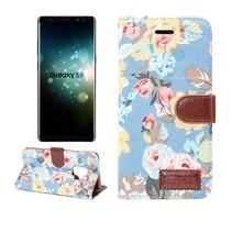 Bloemen Booktype Hoesje Samsung Galaxy S9 - Blauw