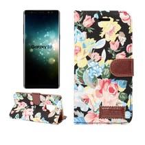 Bloemen Booktype Hoesje Samsung Galaxy S9 - Zwart