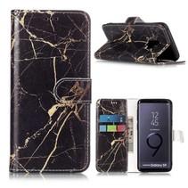 Zwart / Goud Marmer Bookstijl Hoesje Samsung Galaxy S9