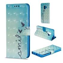 Booktype Hoesje met glitters Samsung Galaxy S9 - Smile