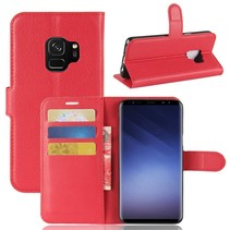 Litchee Booktype Hoesje Samsung Galaxy S9 - Rood