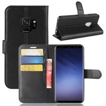 Litchee Booktype Hoesje Samsung Galaxy S9 - Zwart