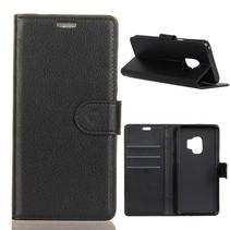 Litchee Zwarte Booktype Hoes Samsung Galaxy S9
