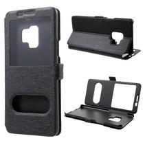 Dual Venster Booktype Hoes Samsung Galaxy S9 - Zwart