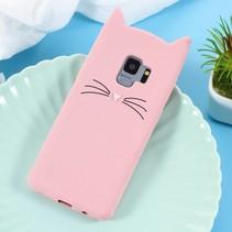 Kat Siliconen Hoesje Samsung Galaxy S9 - Roze