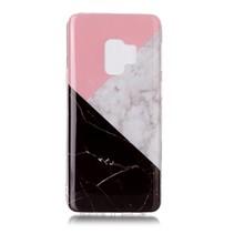 Marmer TPU Hoesje Samsung Galaxy S9 - Zwart / Roze / Wit