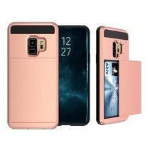Pasjeshouder Hybrid Backcover Hoesje Samsung Galaxy S9 - Rose Goud