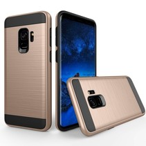 Brushed Hybrid Backcover Hoesje Samsung Galaxy S9 - Goud