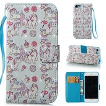 Booktype Hoesje iPhone 7 / 8 - Unicorns