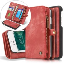 Multi-slot Lederen Wallet Hoesje iPhone 7 / 8 - Rood