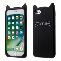 3D Kat Siliconen Backcover Hoesje iPhone 7 / 8 - Zwart