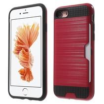 Brushed Hardcase + TPU Hoesje iPhone 7 / 8 - Rood
