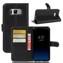 Litchee Booktype Hoesje Samsung Galaxy S8 Plus - Zwart
