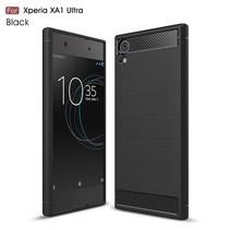 Carbon Brushed TPU Hoesje Sony Xperia XA1 Ultra - Zwart