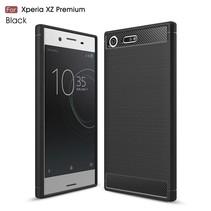 Carbon Brushed TPU Hoesje Sony Xperia XZ Premium - Zwart