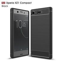 Carbon Brushed TPU Hoesje Sony Xperia XZ1 Compact - Zwart