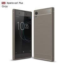 Carbon Brushed TPU Hoesje Sony Xperia XA1 Plus - Grijs
