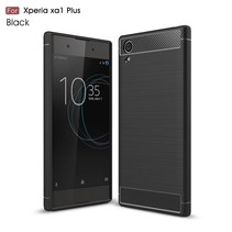 Carbon Brushed TPU Backcover Hoesje Sony Xperia XA1 Plus - Zwart