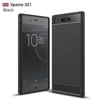 Carbon Brushed TPU Hoesje Sony Xperia XZ1 - Zwart