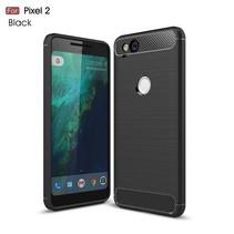 Carbon Brushed TPU Hoesje Google Pixel 2 - Zwart