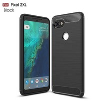Carbon Brushed TPU Hoesje Google Pixel 2 XL - Zwart