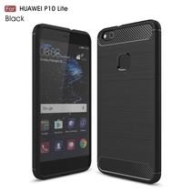 Carbon Brushed TPU Hoesje Huawei P10 Lite - Zwart