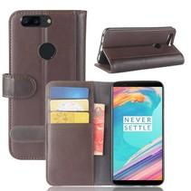 Genuine Leder Booktype Hoesje OnePlus 5T - Bruin