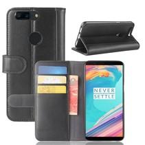 Genuine Leder Booktype Hoesje OnePlus 5T - Zwart