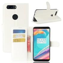 Genuine Leder Booktype Hoesje OnePlus 5T - Wit