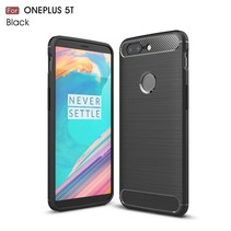 Carbon Brushed TPU Backcover Hoesje OnePlus 5T - Zwart