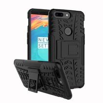 Hardcase + TPU Hybrid Hoesje met Kickstand OnePlus 5T - Zwart