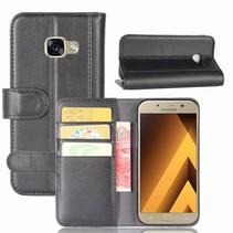 Genuine Leder Wallet Hoesje Samsung Galaxy A5 (2017) - Zwart