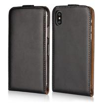 Genuine Lederen Flipcover Hoesje iPhone X - Zwart