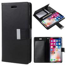 Goospery Diary Wallet Hoesje iPhone X - Zwart