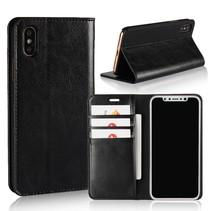 Genuine Lederen Book Case Hoesje iPhone X - Zwart