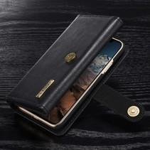 Tri-fold Lederen Wallet Hoesje iPhone X - Zwart