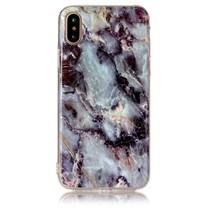 Marmer Design TPU Hoesje iPhone X - Zwart / Blauw