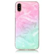 Marmer Design TPU Hoesje iPhone X - Roze / Cyaan